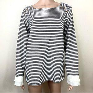 Talbots Women's Top Blouse Striped white black 1X